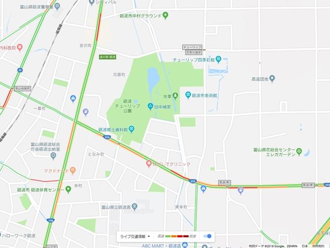 砺波チューリップ公園の周囲の道路の混雑状況