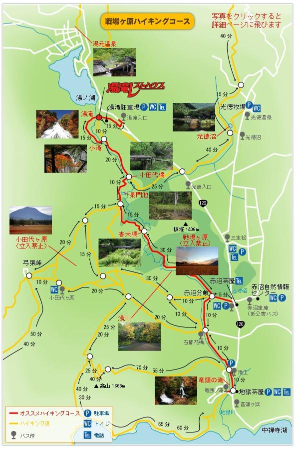 戦場ヶ原のハイキングコースの地図(見所マップ)